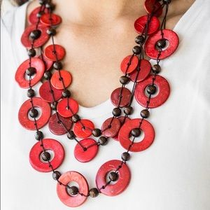 "New! Paparazzi "" Catalina Coasting"" Red Necklace"